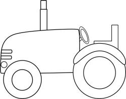 Drawn tractor black and white