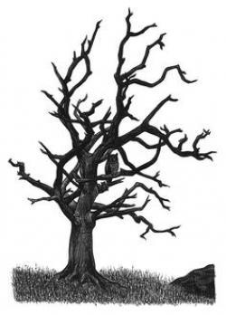 Drawn dead tree tree trunk