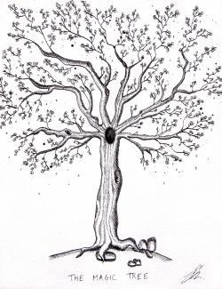 Drawn tree magical tree