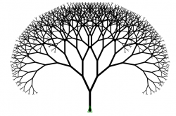 Drawn fractal binary tree