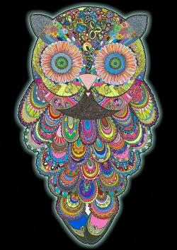 Drawn owl psychedelic