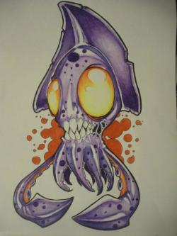 Drawn squid graffiti