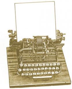 Drawn typewriter ancient