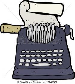 Drawn typewriter cartoon