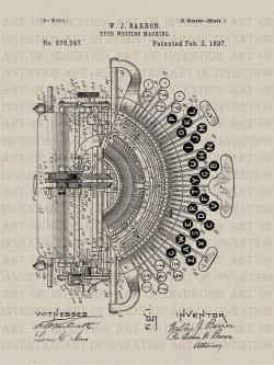 Drawn typewriter invented