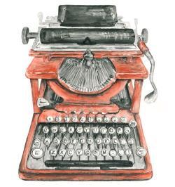 Drawn typewriter logo