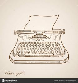 Drawn typewriter paper illustration