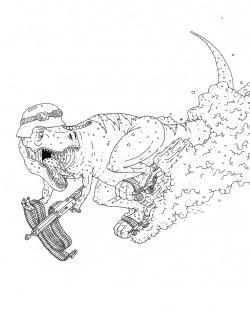 Drawn tyrannosaurus rex paper