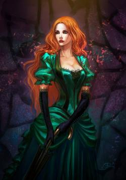 Drawn vampire beautiful female