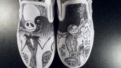 Drawn vans black and white