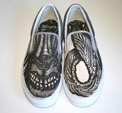 Drawn vans school shoe