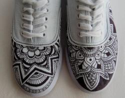 Drawn sneakers decorated