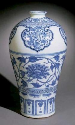 Drawn vase blue