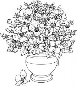 Drawn vase flower bouquet