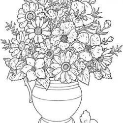 Drawn vase flower coloring page