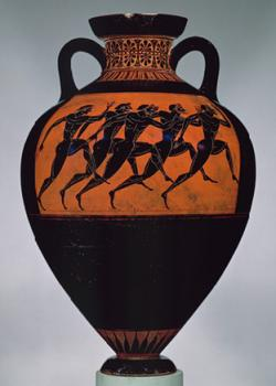 Drawn vase greek pottery