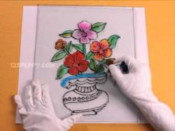 Drawn vase painting