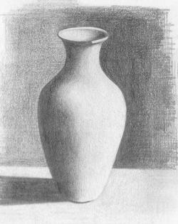 Drawn vase pencil drawing