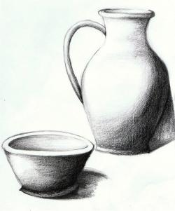 Drawn vase pencil shading