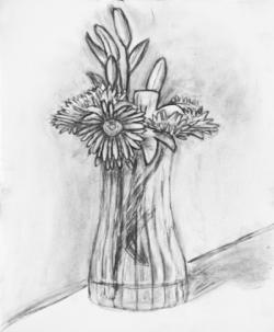 Drawn vase pencil sketch