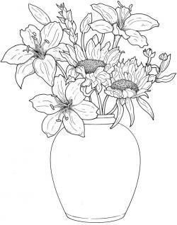 Drawn vase real flower