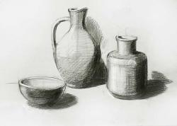Drawn vase still life
