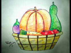 Drawn vegetables basket drawing
