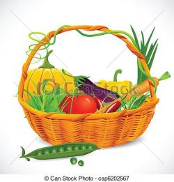 Vegetable clipart basket drawing