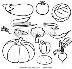 Drawn vegetables black and white