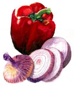 Drawn vegetables watercolor