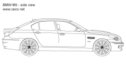 Drawn vehicle bmw m5