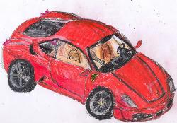 Drawn vehicle crayon