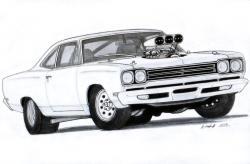 Drawn race car muscle car