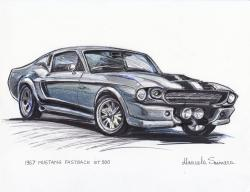 Drawn vehicle mustang fastback