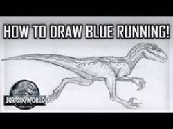 Drawn velociraptor blue