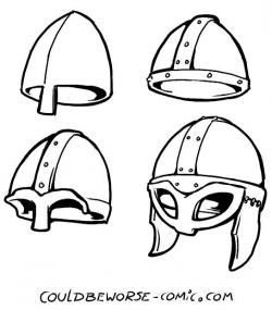 Drawn viking armor helmet