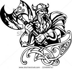 Drawn viking black and white