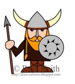 Drawn viking cartoon