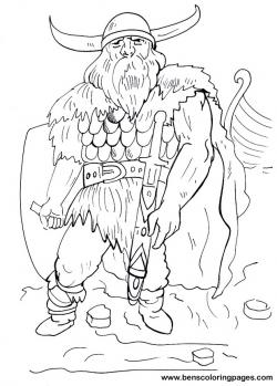 Drawn viking coloring page