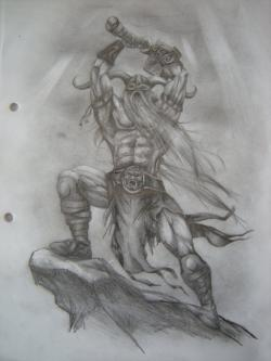 Drawn viking pencil drawing