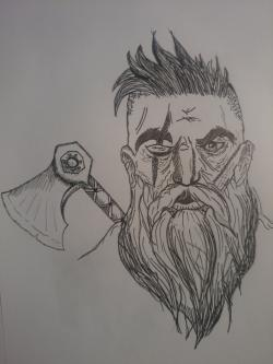 Drawn man viking beard