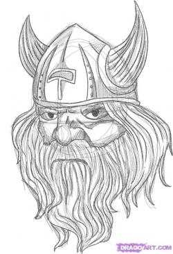 Drawn viking viking head