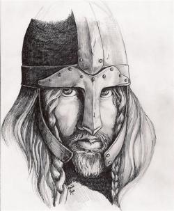 Drawn viking viking man