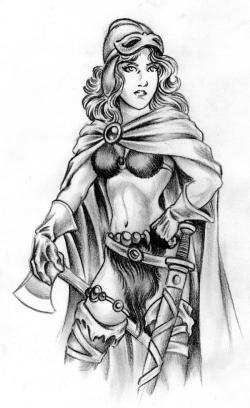 Drawn viking viking woman