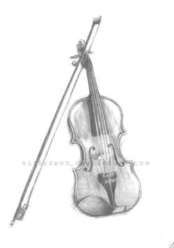 Drawn violin all white