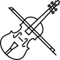Drawn violin black and white