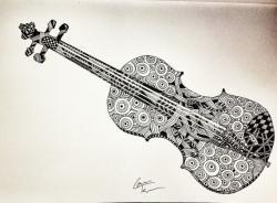 Drawn violin doodle