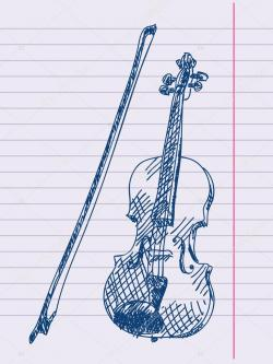 Drawn violin hand drawn