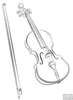 Drawn violin pencil drawing