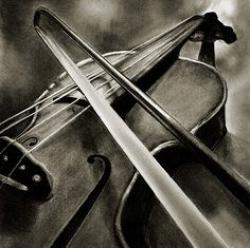 Drawn violin pencil sketch